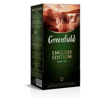 Tee Greenfield black English Edition, Inhalt: 25 Aufgussbeutel à 2g. (Grundpreis 3,58€/100g)