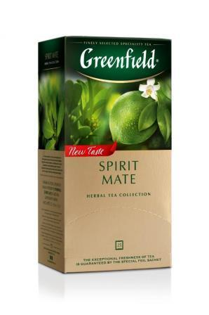 Tee Greenfield herbal Spirit Mate, Inhalt: 25 Aufgussbeutel à 1,5g. (Grundpreis 4,77€/100g)