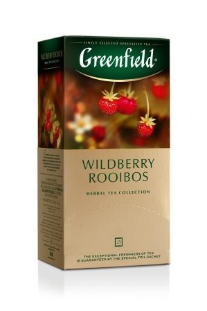 Tee Greenfield herbal Wildberry Rooibos, Inhalt: 25 Aufgussbeutel à 1,5g. (Grundpreis 4,77€/100g)